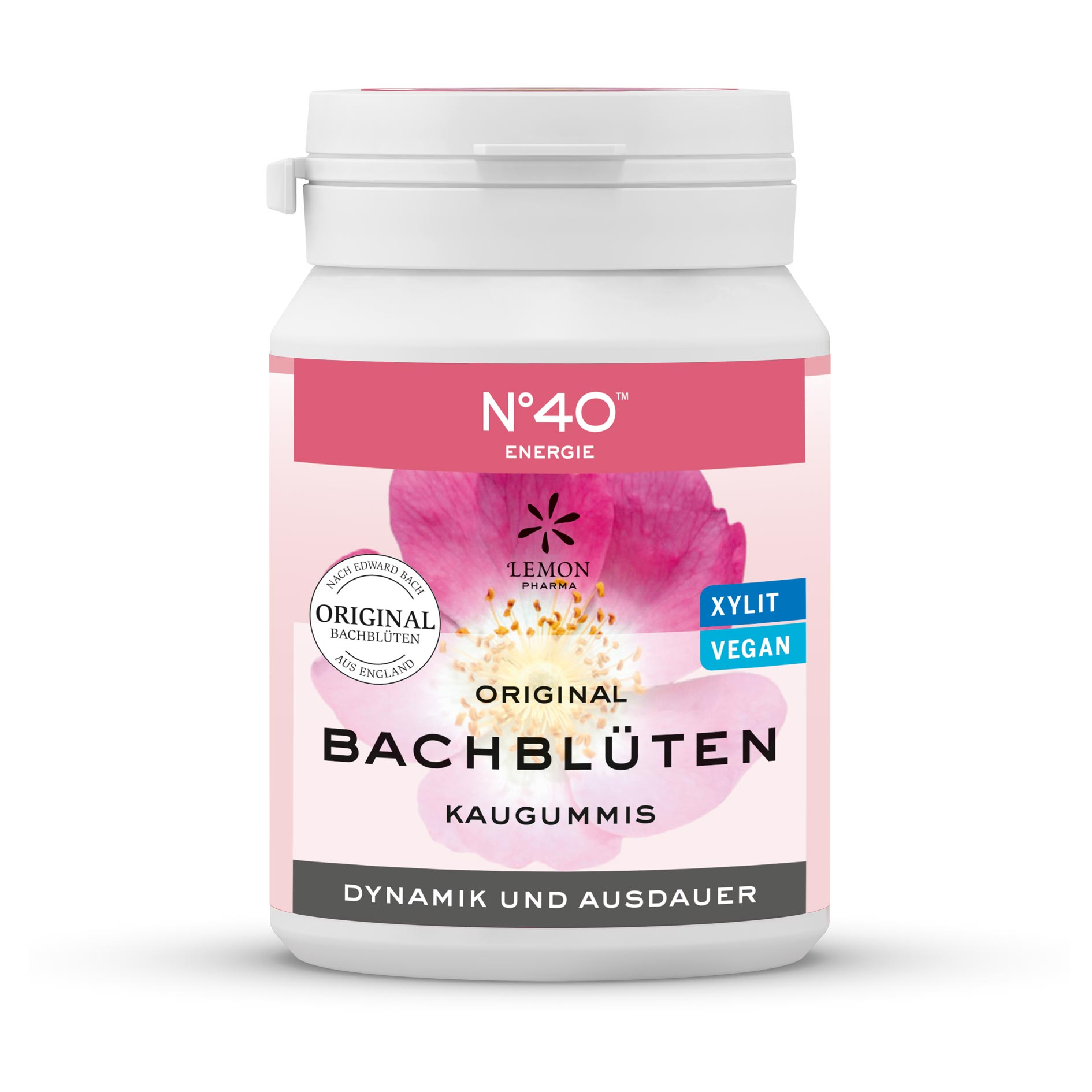 Gomma da masticare 40 Energia Fiori di Bach originali Lemon Pharma Bach flowers dinamismo e resistenza xylit vegan chewing gum