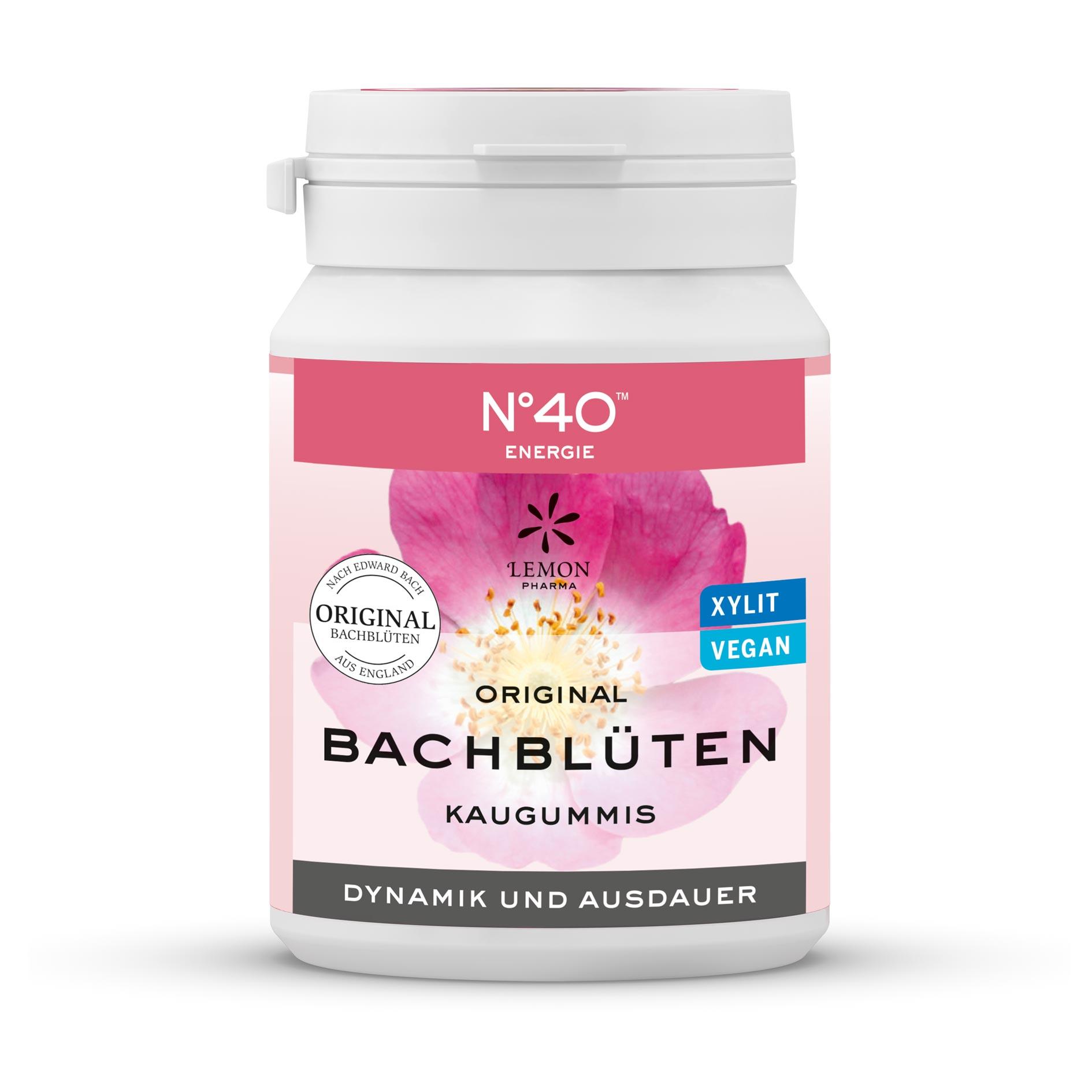 Kaugummi 40 Energie Lemon Pharma Original Bachblüte Bach flowers Dynamik und Ausdauer xylit vegan chewing gum