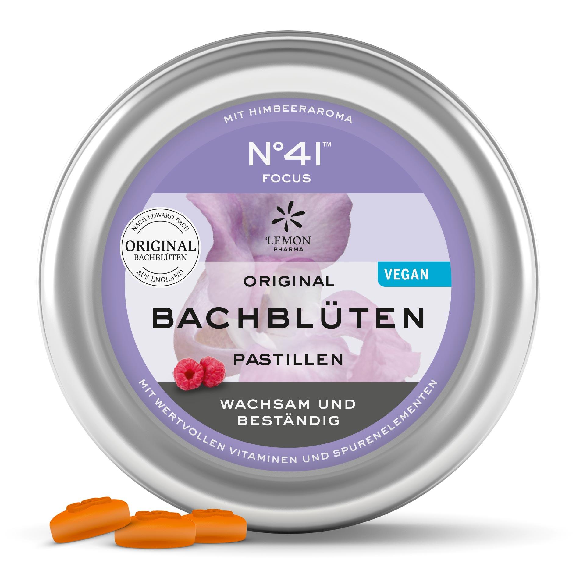 Lemon Pharma Original Bachblüten Nr 41 Focus Pastillen Wachsam und Beständig vegan